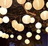 10 Stücke weiß Papierlaterne Laterne Deko Feier Lampions Papierlampen (6 ')