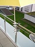 2 Stück - Balkon Schirmhalter waagerechte oder senkrechte Befestigung des schwenkbaren 360 ° patentierten von 25 bis Ø 42 mm ...