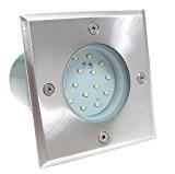 230V LED Terrassenspot Bodeneinbaustrahler Wegbeleuchtung nur 1,2 Watt Verbrauch Bodenstrahler Edelstahl Gartenbeleuchtung eckig quadratisch warmweiss Gordo IP67 begehbar für Innen ...