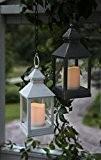 2er Set (= 2 Stück) Romantisch dekorative LED Laternen 24 cm x 10 cm - in WEISS und SCHWARZ - ...