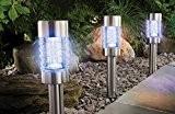 4 er Sparset Solarleuchte Farbwechsel oder weiß Edelstahl Echtglas mit integriertem Solarmodul und Dämmerungssensor - auch als Pfadbeleuchtung oder Wegeleuchte ...