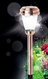 4er Set Solar Leuchten Garten Solar Lampen Edelstahl Kupfer Optik helle LED kaltweiß - sehr hochwertige Solar Wegeleuchte mit Erdspieß ...