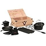 8-teiliges Dutch Oven Set in Holzkiste, Gusseisen, eingebrannt, Töpfe, Pfanne, Handschuhe und mehr