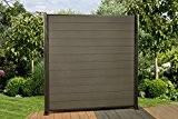 9,0 Lfm. WPC Zaun Sichtschutzzaun, mit Pfosten und Zubehör Farbe: Granit / Grau