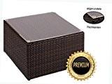 Alu- Beistelltisch inkl. Plexiglasplatte,4 x verstellbare Füße (auch als Hocker nutzbar (90 kg) ohne Plexiglasplatte)zur KombinationRattan Sonnenliege, Liege, Loungeaus hochwertigem ...