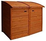 Andrewex Mülltonnenbox für 2 Tonnen 156 x 97 cm 240 Liter aus Holz Farbton: Teak Mülltonnenschrank Mülltonnenverkleidung