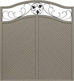 Andrewex Sichtschutzzaun Elegant 180 / 195 x 180 cm lasiert, farbig endbehandelt, Farbton Grau aus Holz Windschutz Blumenornament
