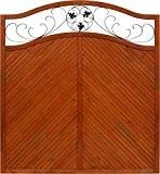 Andrewex Sichtschutzzaun Elegant 180 / 195 x 180 cm lasiert, farbig endbehandelt, Farbton Teak aus Holz Windschutz Blumenornament