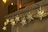Anokay 10er LED Lichterkette Stern batteriebetrieben für Party, Weihnachten, Outdoor, Fest Deko usw.