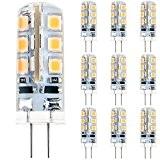 Anpro 10 Stück Glühbirne 2 Watt DC 12V G4 24 LED Lampe 2835 SMD, Ersatzteil für 20W Halogen Lampe, Warmweiß ...