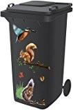 Aufkleber für Mülltonne, selbstklebend, Motiv Waldtiere
