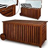 Auflagenbox mit Innenplane und Rädern Holz Gartenbox Gartentruhe 117cm Akazie rollbar Kissenbox Truhe