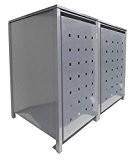 BBT@   Hochwertige Mülltonnenbox für 2 Tonnen je 240 Liter mit Klappdeckel in Silber (RAL 9006) / Stanzung 3 / ...