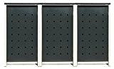 BBT@ | Hochwertige Mülltonnenbox für 3 Tonnen je 120 Liter mit Klappdeckel in Grau / Aus stabilem pulver-beschichtetem Metall / ...