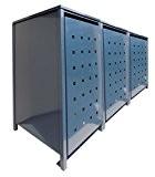 BBT@   Hochwertige Mülltonnenbox für 3 Tonnen je 240 Liter mit Klappdeckel in Grau (RAL 7016) / Stanzung 2 / ...
