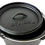 Big-BBQ DO 4.5 Dutch-Oven aus Gusseisen | Fertig eingebrannter 10er Koch-Topf aus Gusseisen | mit Deckelheber und Deckelständer | mit ...