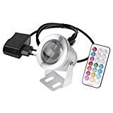 Bloomwin RGB IP65 Unterwasserleuchte LED Lampe mit Fernbedienung, 10W 1000lm, Dekoration für Pool, Brunnen, Teich im Garten, Platz usw., Silber