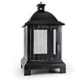 Blumfeldt Loreo Feuerschale Terrassenofen (brünierter Stahl, Funkenschutz, Laternen-Design, Schürhaken) schwarz
