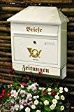 Briefkasten, Premium-Qualität, verzinkt, pulverbeschichtet Walmdach W/w weiß schneeweiß snow white Zeitungsfach Zeitungsrolle Postkasten