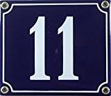 Buddel Bini Wetterfestes Emaille Hausnummernschild 11 12 x 14 cm, sofort lieferbar, blau