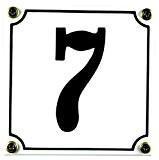 Buddel Bini Wetterfestes Emaille Hausnummernschild 7 12 x 12 cm, sofort lieferbar, weiß