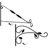 COM-FOUR 2x Wandhalterung aus pulverbeschichteten Stahl für Blumenampeln, Windspiele, etc. in verschiedenen Designs, inkl. Schrauben und Dübel