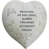 """COM-FOUR Deko Herz """"Menschen, die wir lieben"""", in Steinoptik, als Grabschmuck, ca. 15 x 15 x 9 cm"""