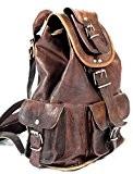 """Cool Stuff 15"""" Leder Rucksack Schultertasche Ledertasche Lederrucksack Vintage für Outdoor Retro Style iPad Tasche Ledertasche Universität Beruf Unirucksack Unisex ..."""