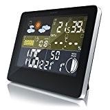 CSL - Funkwetterstation mit Farbdisplay | Wetterstation inkl. Außensensor | DCF-Empfangssignal | Mondphasen-Anzeige / Innen- und Außentemperatur / Wettervorhersage-Piktogramm / ...
