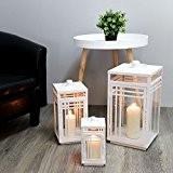 Dekoratives 3tlg. Laternen-Set H25/38/48cm mit Henkel Laterne Windlicht Gartenlaterne Kerzenhalter Gartenbeleuchtung Dekoration Metall - Weiß
