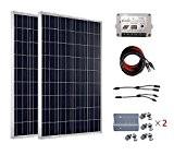ECO-WORTHY 200 Watts Solaranlage 12V - mit Laderegler 2 x 100w Solarmodul Modulverbindungskabel MC4 Y-Stecker und Batteriekabel