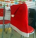 Edealing 2pcs Red Vater Santa Clause Hat Chair Back Cover Christmas Dinner Table Party Decor
