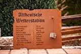 """Edelrost Schild """" Altdeutsche Wetterstation"""" zum Hängen 70cm x 80cm"""