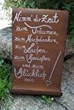 """Edelrost Tafel mit Welle """"Glück"""" Gartendekoration Schild Metall"""