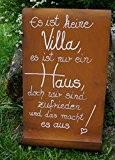 """Edelrost Tafel mit Welle Spruch """"Villa"""" Eingang Gartendekoration"""