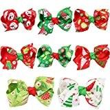 Elenxs 8pcs Kleinkind-Säuglingsbaby-Weihnachtsverzierungen Bowknot-Haarnadel-Kopfschmuck