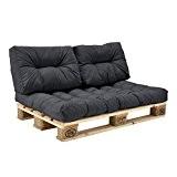 [en.casa] Palettenkissen - 3er Set - Sitzpolster + Rückenkissen [dunkelgrau] Paletten-Sofa In/Outdoor