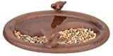 Esschert Design Vogeltränke, Vogelbad mit Vogelmotiv für den Boden, rund, zweigeteilt, ca. 29 cm x 21 cm x 7 cm