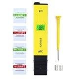 Etekcity Digital pH Meter Messgerät mit 0,00-14,00 pH Messbereich für Aquarium Schwimmbad Haushalt Labor, Gelb