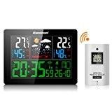 Excelvan LCD Funkwetterstation Funkuhr Thermometer inkl. Außensensor Reichweite 50 m für zuhause schwarz