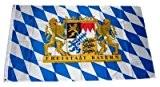 Fahne Freistaat Bayern Löwen mit Schrift 90 x 150 cm