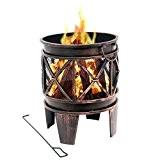 """Feuerkorb """"Plum"""", Feuerkorb, Feuerstelle, 42 x 42 x 52,5 cm, Feuerschale in Antik-Optik"""