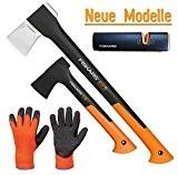 FISKARS© Set Spaltaxt X17 - M + Universalaxt X7 - XS + Xsharp Axt- und Messerschärfer + Handschuhe