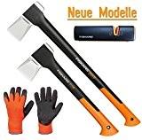 FISKARS© Set Spaltaxt X25 - XL + X11 - S + Xsharp Axt- und Messerschärfer + Handschuhe