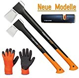 FISKARS© Set Spaltaxt X25 - XL + X17 - M + Xsharp Axt- und Messerschärfer + Handschuhe