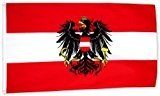 Flaggenking Österreich Flagge/Fahne mit Wappen, weiß, 150 x 90 x 1 cm, 16958