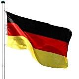 FLAGMASTER® Aluminium Fahnenmast 6,50 m, inkl. Deutschland Fahne + Bodenhülse + Zugseil, 3 Jahre Garantie