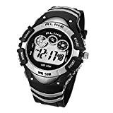 Foxnovo GLEICHERMAßEN A5106 50M wasserdicht Studenten Sport Armbanduhr mit Datum(Silber)
