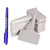 """G2Plus 100Stk. Mini T-Form Plastik Pflanzenstecker StecketikettenBeschriften Pflanzschilder Schilder 6CM * 10CM Sind Praktisch für Alle """"Gärtner"""" (Weiß)"""