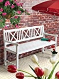 Gartenbank weiß AALBORG Sitzbank Holz 3-Sitzer Bank FSC 100%